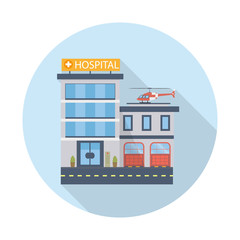 Hospital building vector icon in flat design. Modern clinic with helicopter. Vector