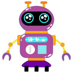 A cute robot, on wheels, with claws, big beautiful eyes. On the robot body there are buttons, wires, antennas. Creative vector robot background. Funny wallpaper for textile and fabric.