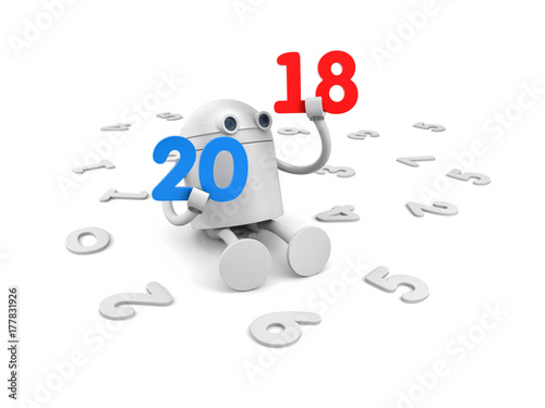 Robot With Blue Numbers 2018 New Year Metaphor 3d Illustration