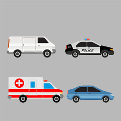 Public and commercial transport set. Car, van, police car and ambulance.