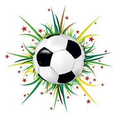 Soccer ball on background of grass and stars