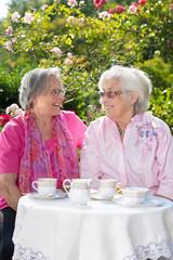 Two senior smiling women having tea in garden.