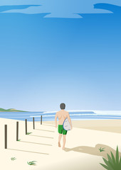 Man with surfboard going to ocean. Retro poster style. Vector illustration.