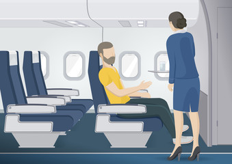 Stewardess brings man the glass of water.  Flight attendant serving passenger. Vector illustration.