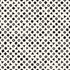 Hand drawn black and white ink abstract seamless pattern. Vector stylish grunge texture. Monochrome geometric scattered shapes lines