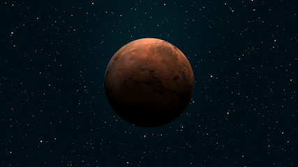 Solar System - Mars. It is the fourth planet from the Sun. Elements of this image furnished by NASA.