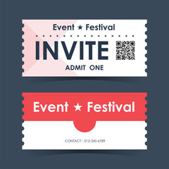 Even and festival invite ticket Card. Element template guideline for design. Vector illustration