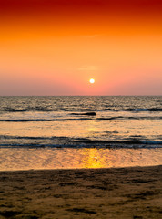 Vertical orange ocean sunset landscape background