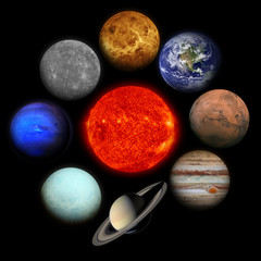 Solar system. Planets on black background. Elements of this image furnished by NASA.