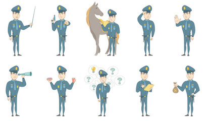 Young caucasian policeman set. Policeman holding pointer stick, saluting, looking through a spyglass, eating doughnut, drinking coffee. Set of vector sketch illustrations isolated on white background.