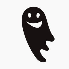 illustration of spooky funny ghost on white background, halloween concept