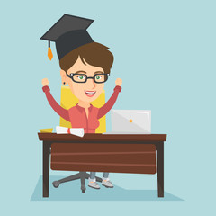 Young caucasian graduate sitting at the table with laptop and diploma. Cheerful graduate celebrating the graduation of an online educational institution. Vector cartoon illustration. Square layout.
