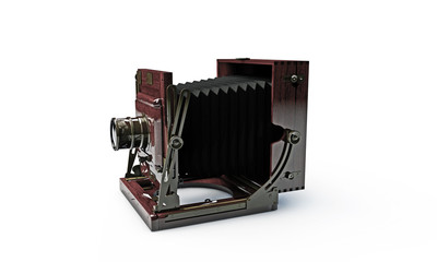 old wood frame photo camera isolated on white background