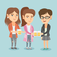 Three happy caucasian women toasting and clinking glasses of beer. Young cheerful women clanging glasses of beer. Group of female friends drinking beer. Vector cartoon illustration. Square layout.
