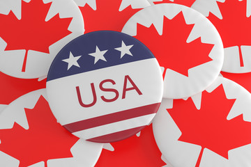 International Politics News Badges: USA Flag Button On Canada Flag Buttons, 3d illustration
