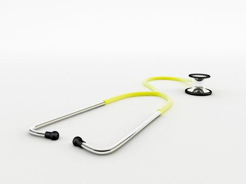 yellow stethoscope isolated on white background