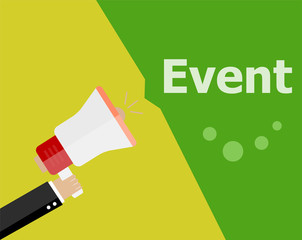 Event. flat design concept. Digital marketing business man holding megaphone for website and promotion banners.