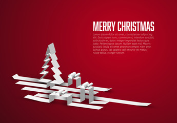 Red Christmas Card with White 3D Elements