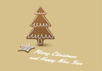 Christmas Card with Gingerbread Tree and Star Cookie