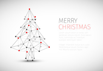 Christmas Card with Geometric Diagram Tree