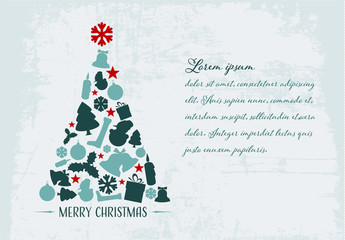 Christmas Card with Grunge Background 3