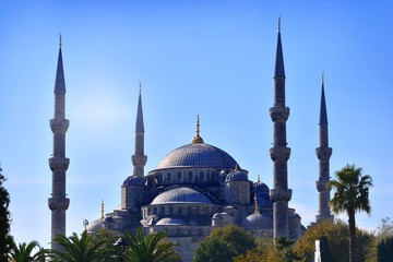 Blue Mosque in Turkey against the sun