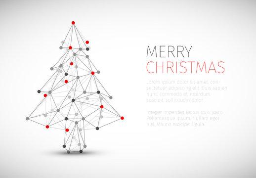 Christmas Card with Geometric Diagram Tree