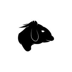 Black silhouette of sheep head icon