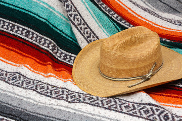 Cowboy Hat on  Mexican Blanket