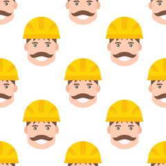 Yellow plastic helmet or construction safety hard hat engineer head safe equipment seamless pattern vector illustration.