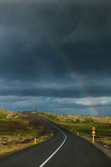 Rainbow Over a Countryside Road