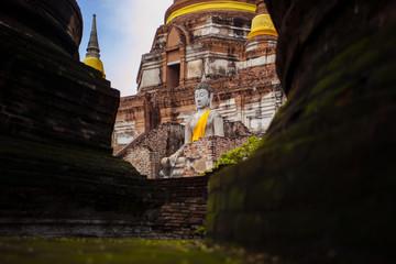 buddha statue in wat yai chai mongkol ayutthaya world heritage site of unesco thailand