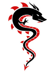 Black and red dragon silhouette.