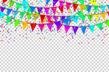 Vector realistic isolated party flags and confetti for decoration and covering on the transparent background. Concept of birthday, holiday and celebration.