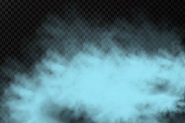 Vector realistic isolated blue smoke powder for decoration and covering on the transparent background.