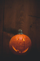 pumpkins on wood