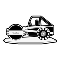 steamroller heavy machinery construction icon image vector illustration design