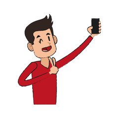 man taking selfie with cellphone icon image vector illustration design