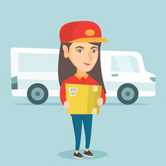 Young caucasian delivery courier holding a box on the background of truck. Delivery courier carrying a cardboard box. Delivery courier with a box in hands. Vector cartoon illustration. Square layout.
