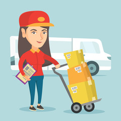 Young caucasian delivery courier pushing the trolley with cardboard boxes. Delivery courier standing in front of delivery truck and holding a clipboard. Vector cartoon illustration. Square layout.