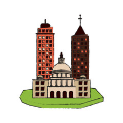 city on floating land icon image vector illustration design