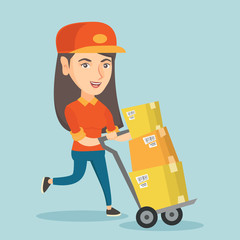 Caucasian woman-postman pushing the trolley with parcels in cardboard boxes. Young woman-postman delivering parcels. Woman-postman running with parcels. Vector cartoon illustration. Square layout.