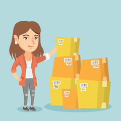 Young caucasian business woman working in the warehouse. Business woman checking boxes in the warehouse. Woman preparing goods for dispatch in the warehouse. Vector cartoon illustration. Square layout
