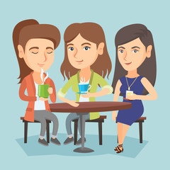 Group of young caucasian friends drinking hot and alcoholic drinks. Three smiling friends hanging out together in the cafe. Friends relaxing in the cafe. Vector cartoon illustration. Square layout.