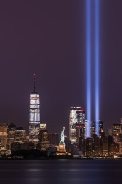 Tribute in Light with Freedom Tower and Statue of Liberty