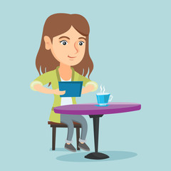 Young caucasian woman using a tablet computer in the cafe and surfing in the social network. Woman rewriting in the social network. Social network concept. Vector cartoon illustration. Square layout.