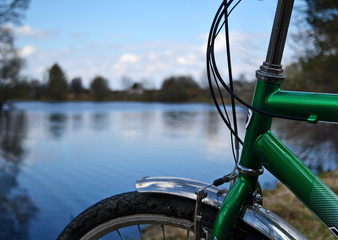 bike on the side of lake