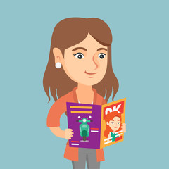 Caucasian woman reading a magazine. Young woman standing with a magazine in hands. Woman holding a magazine. Smiling woman reading good news in a magazine. Vector cartoon illustration. Square layout.