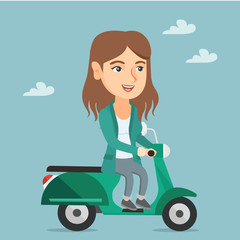 Young caucasian woman riding a scooter outdoor. Smiling business woman traveling on a scooter in the city. Happy woman enjoying her trip on a scooter. Vector cartoon illustration. Square layout.