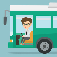 Young caucasian bus driver sitting at steering wheel. Female bus driver driving a passenger bus. Smiling bus driver sitting in the driver cab. Vector cartoon illustration. Square layout.